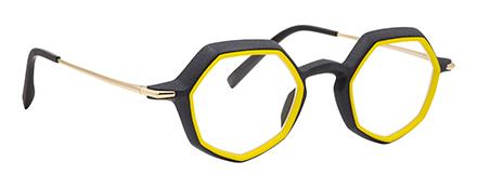 monture optique design créateur impression 3D jaune hexagonale