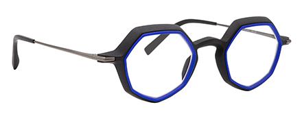 monture optique design créateur impression 3D bleu electrique hexagonale