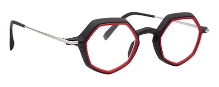 monture optique design créateur impression 3D rouge hexagonale